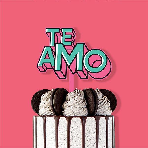Toppers de Bolo Te Amo (3und.) Color Glitter