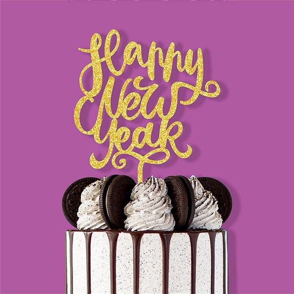 Topo de Bolo Happy New Year Nº3