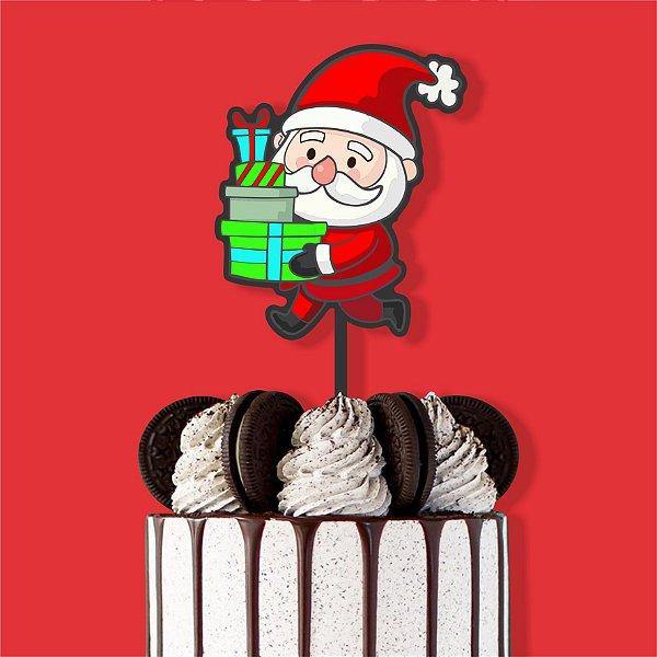 Topo Bolo Color Glitter Papai Noel Presentes