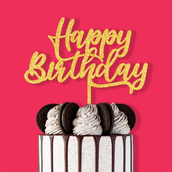Topo de Bolo Happy Birthday Nº2