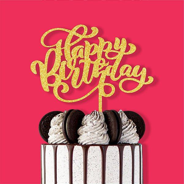 Topo de Bolo Happy Birthday Nº3