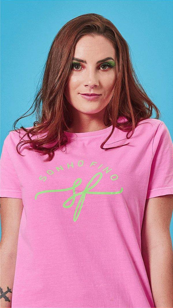 Camiseta Feminina Logo Rosa
