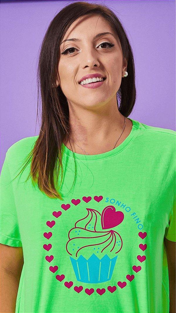Camiseta Feminina Cupcake Verde