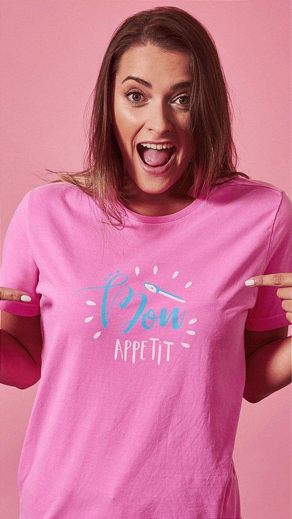 Camiseta Feminina Bon Appetit Rosa