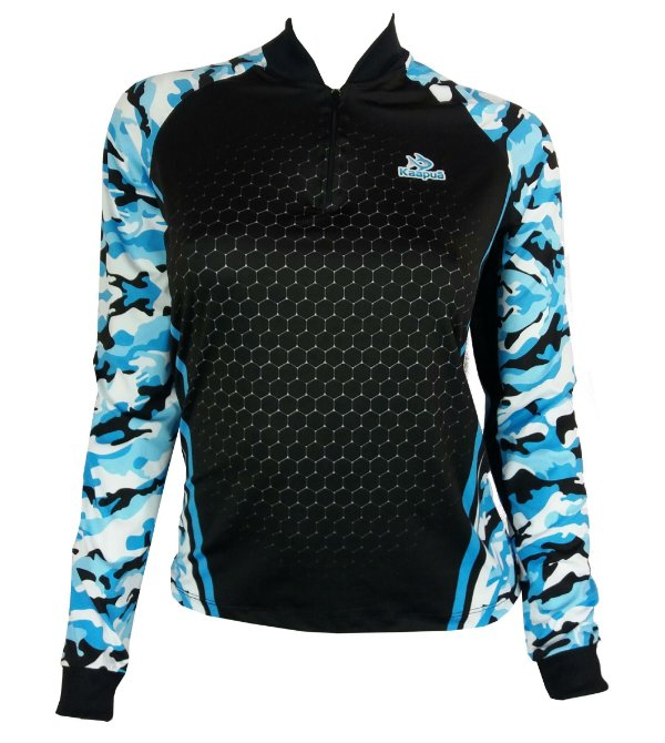 22478b122 Camisa de Pesca Uv Feminina Camuflada Azul com Proteção UV - Camisa ...
