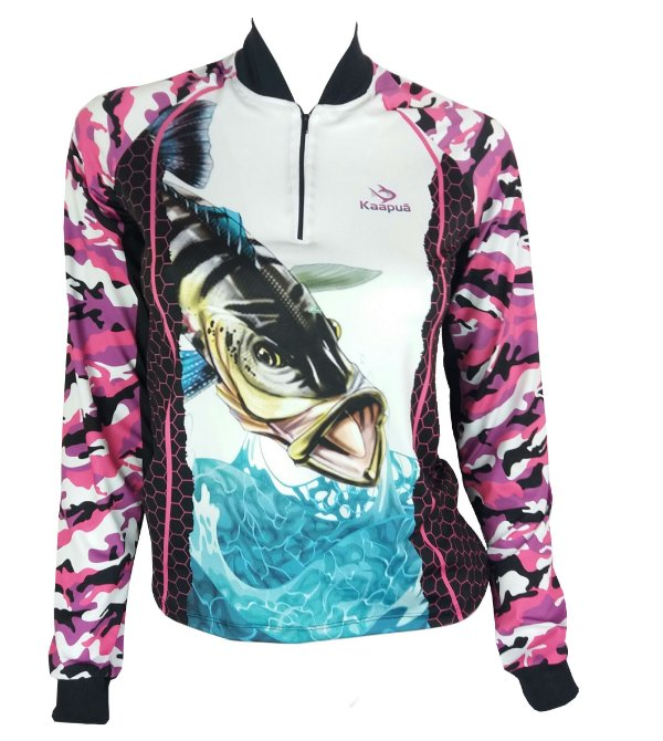 31532ea67 Camiseta com Proteção Uv de Pesca Feminina Tucunaré Camuflada Rosa ...