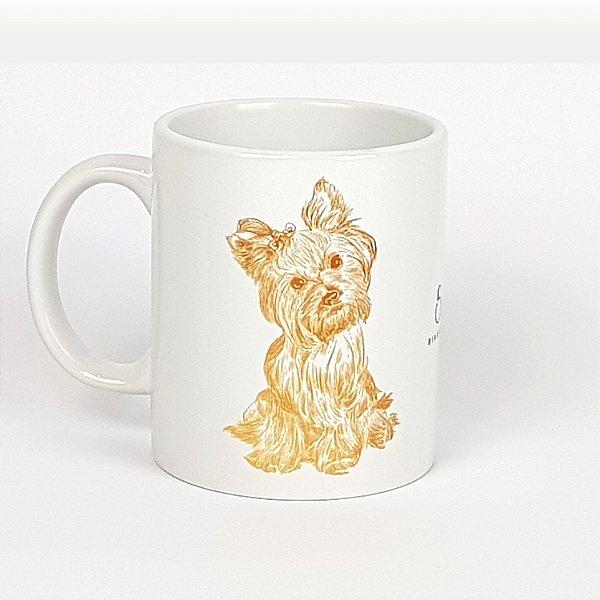 Caneca de cerâmica Yorkshire Terrier Dourado - 325ml