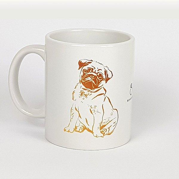 Caneca de cerâmica Pug Dourado - 325ml
