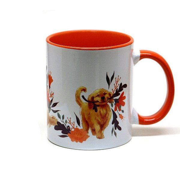 Caneca de cerâmica Golden Retriever fundo laranja 325ml - mod 02