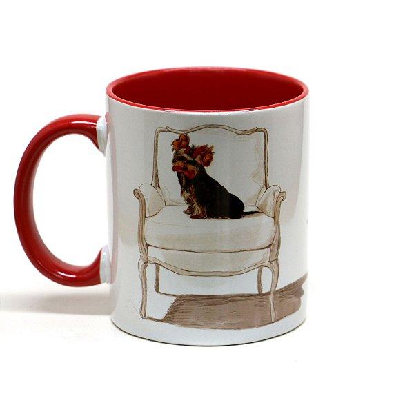 Caneca de cerâmica Yorkshire Terrier fundo vermelho 325ml - mod 02