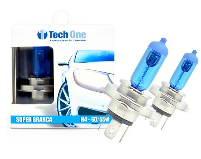 PAR LAMPADAS SUPER BRANCA H4 8500K 55W 12V TECH ONE