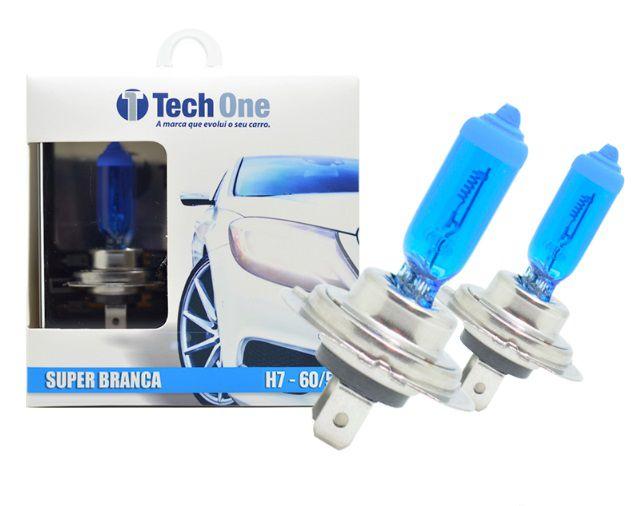 PAR LAMPADAS SUPER BRANCA H7 8500K 55W 12V TECH ONE