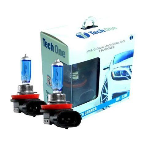 PAR LAMPADAS SUPER BRANCA H8 8500K 35W 12V TECH ONE