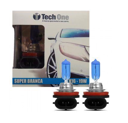 PAR LAMPADAS SUPER BRANCA H16 8500K 19W 12V TECH ONE