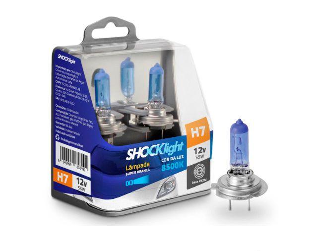 PAR LAMPADAS SUPER BRANCA H7 8500K 55W 12V SHOCKLIGHT