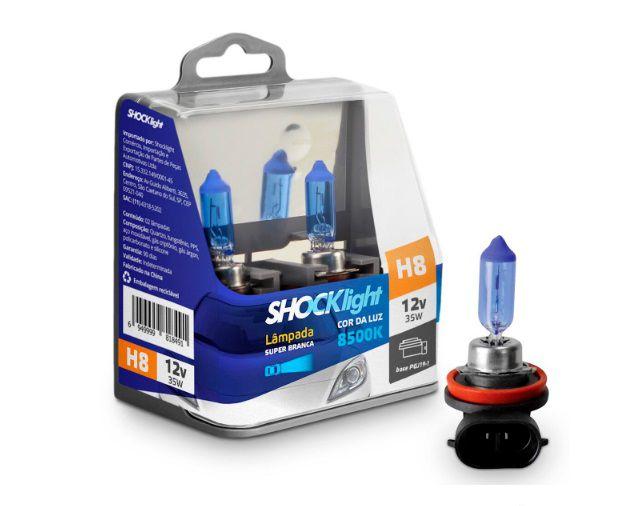 PAR LAMPADAS SUPER BRANCA H8 8500K 35W 12V SHOCKLIGHT
