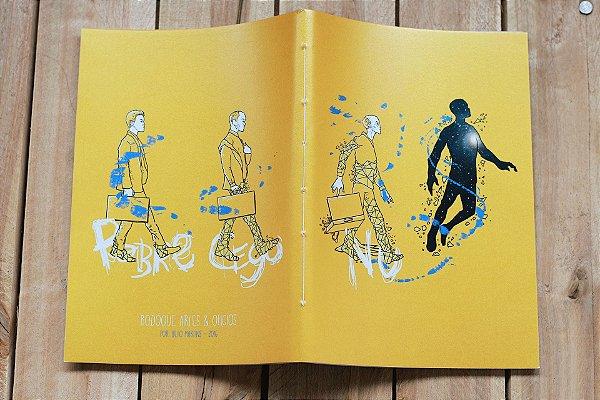 Caderno artesanal pobre, cego e nú formato A5 Bodoque por: Beto Martins