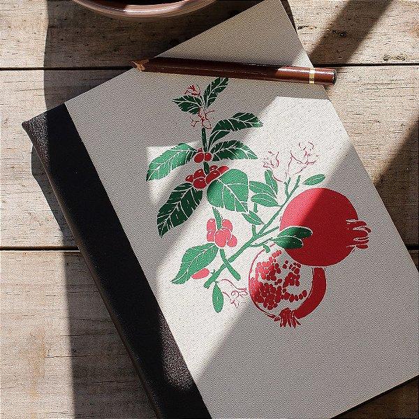 Caderno artesanal capa-dura - Café Romã - Bianca Lana
