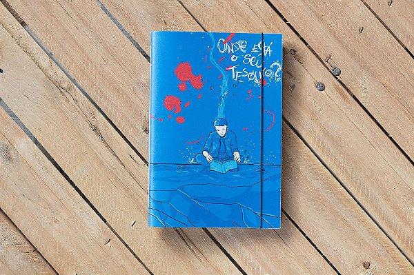 Caderno artesanal Onde está o seu tesouro? formato A5 Bodoque por: Beto Martins