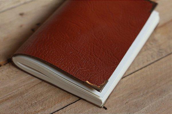 Caderno artesanal de couro marrom avermelhado formato A6 Bodoque