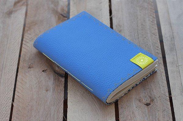 Caderneta de bolso de luxo em couro sintético azul clara - POLIANA LOPES