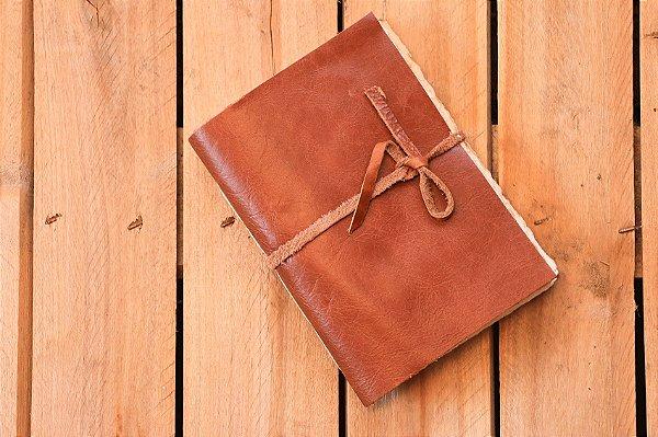 Caderno de couro caramelo envelhecida formato A6 Bodoque