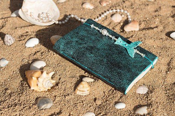 Coleção Sereias #1 caderno artesanal em couro formato A6 Bodoque