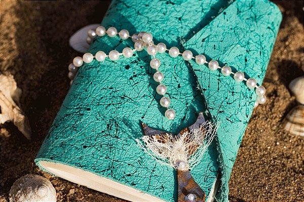 Coleção Sereias #4 caderno artesanal em couro formato A6 Bodoque