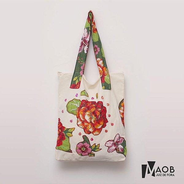 Bolsa artesanal de tecido Flores - MAOB