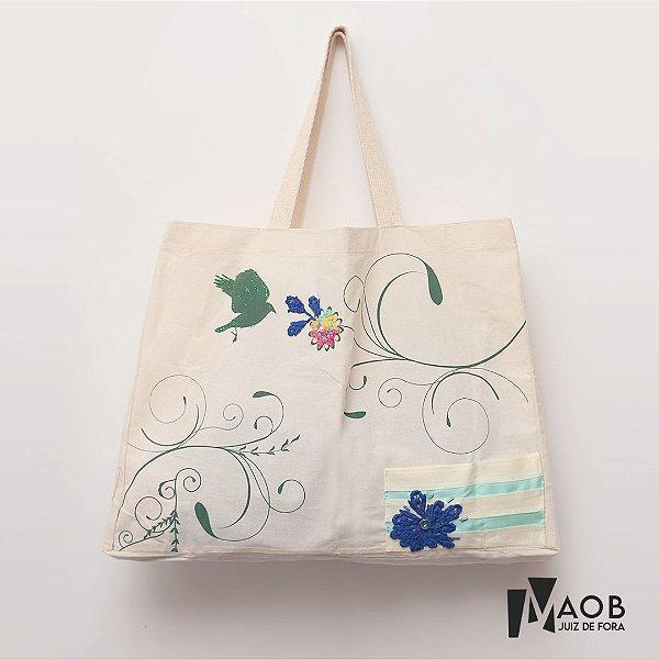 Bolsa artesanal de tecido pássaro - MAOB