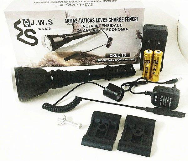 Lanterna Tática Led Cree T6 1.800.000w 2 Baterias 4 Lentes Lanterna Caça JWS 570