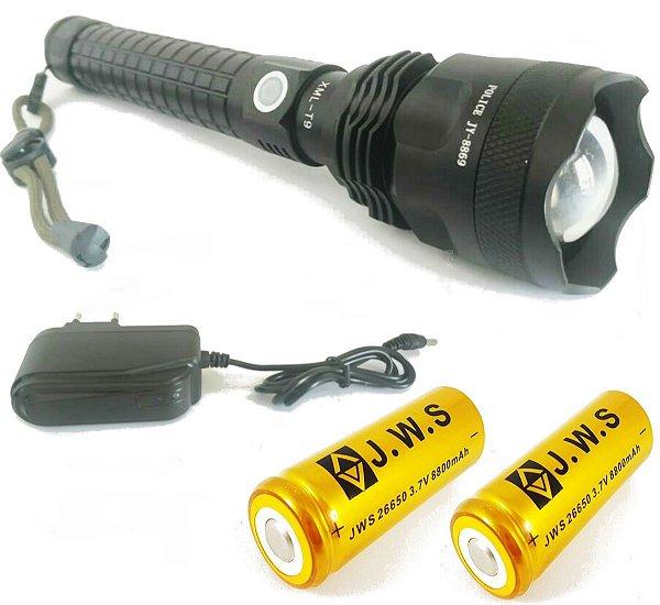 Lanterna Tatica Lançamento Farolete Recarregavel Led T9 Super Potente 2 Bateria 26650