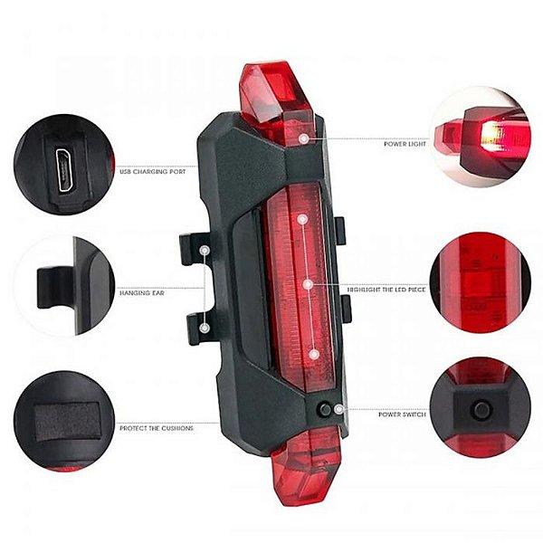 Lanterna Bicicleta Traseira Super Brilhante USB Portátil Recarregável Jws DC918