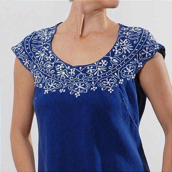 Vestido Plus Size de Tencel Azul Colonial