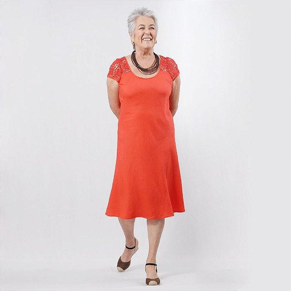Vestido Midi Plus Size de Linho Renda Vermelho