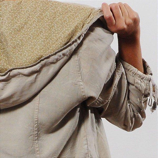 Jaqueta Plus Size de Tencel Off White