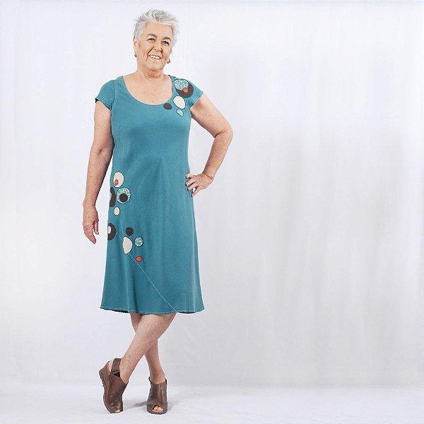 Vestido Midi Plus Size de Tencel Bolhas Azul Ciano