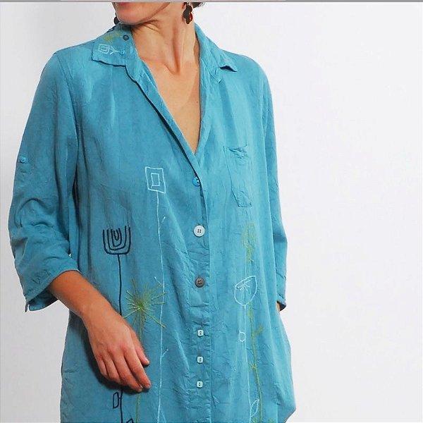 Vestido Plus Size de Tencel Nice Bordado Azul
