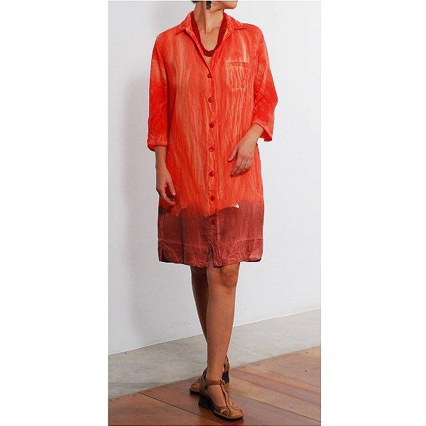 Vestido Plus Size de Tencel Nice 'Acqua Print' Laranja