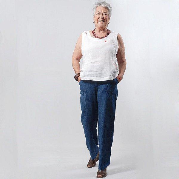 Calça Plus Size Pantalona de Tencel Índigo