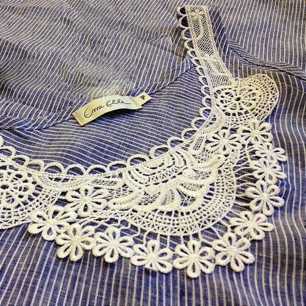 Vestido Plus Size de Linho Listradinho e Pala Guippir Branca