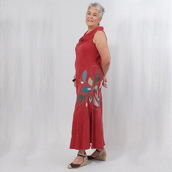 Vestido Plus Size de Tencel Marsala Flor Lateral