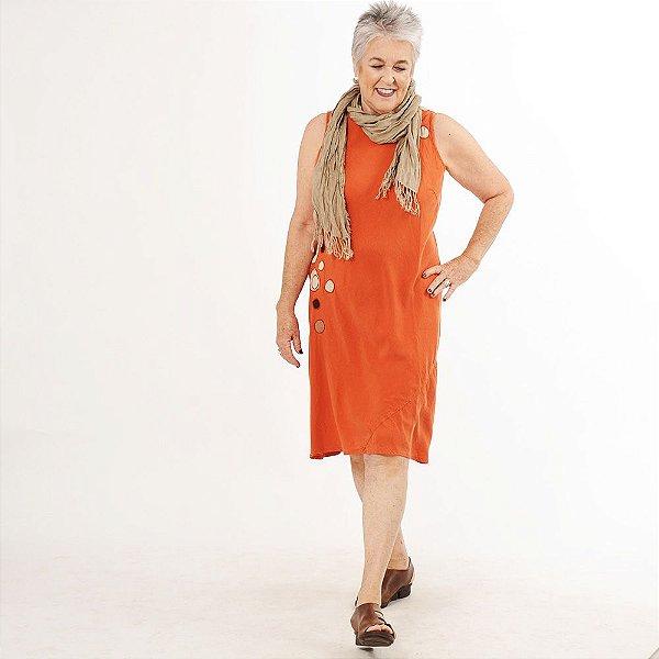 Vestido Midi Plus Size de Tencel Telha Bordado Colorido