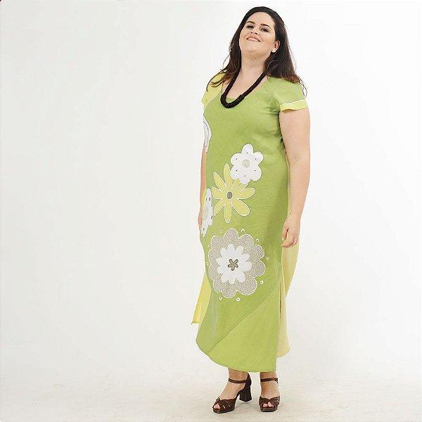 Vestido Plus Size de Tencel Estampado à Mão Verde Folha