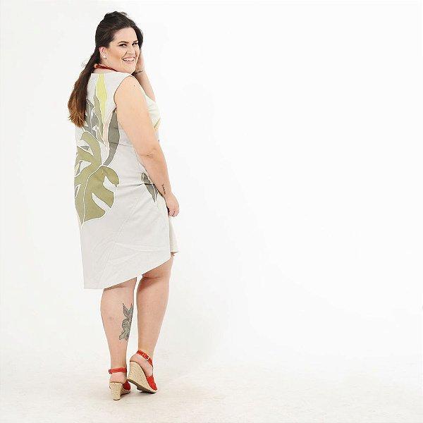 Vestido Midi Plus Size de Tencel Estampado à Mão Inhotim