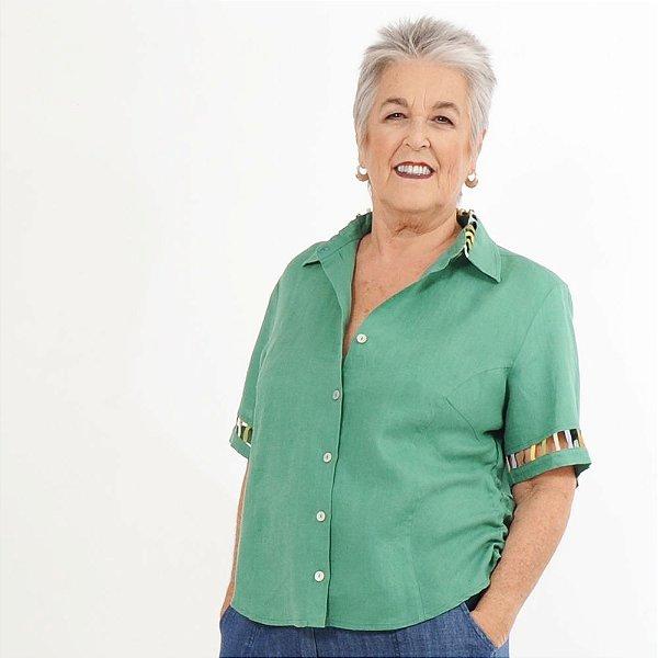 Camisa Plus Size de Linho Puro Jade
