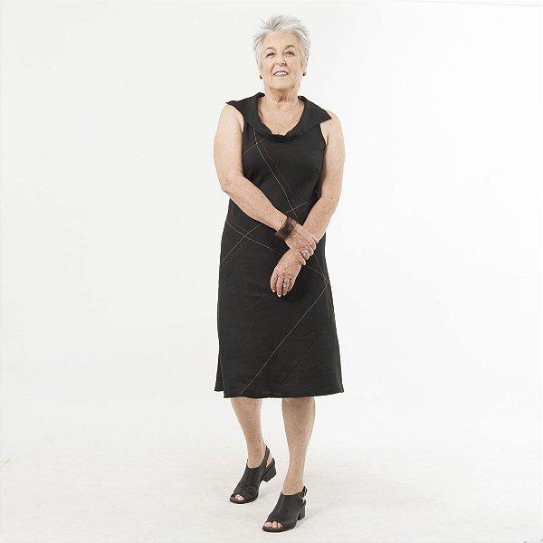 Vestido Plus Size de Linho Midi Preto. Pesponto Cinza Laranja