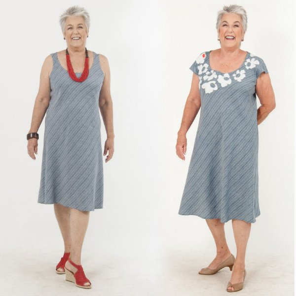 Vestido Midi Plus Size de Linho Lintradinho Azul