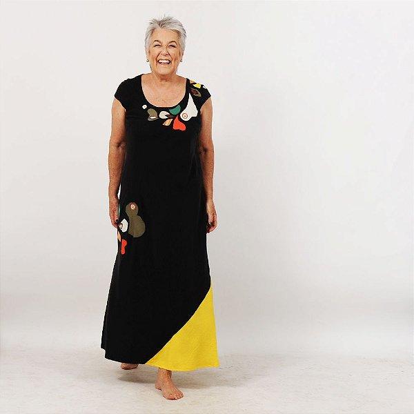Vestido Plus Size de Tencel Preto e Amarelo