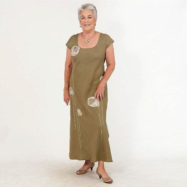Vestido Plus Size de Linho Verde Bordado